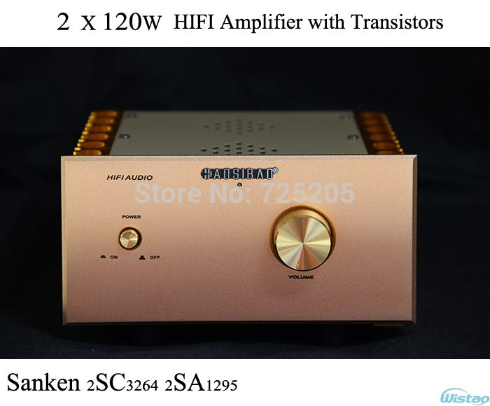 HIFI Amplifier Transistors Amp Stereo Discrete Component A1 2SC3264 / 2SA1295 2x120W Whole Aluminum Casing Gold High Quality US $189.00 / piece
