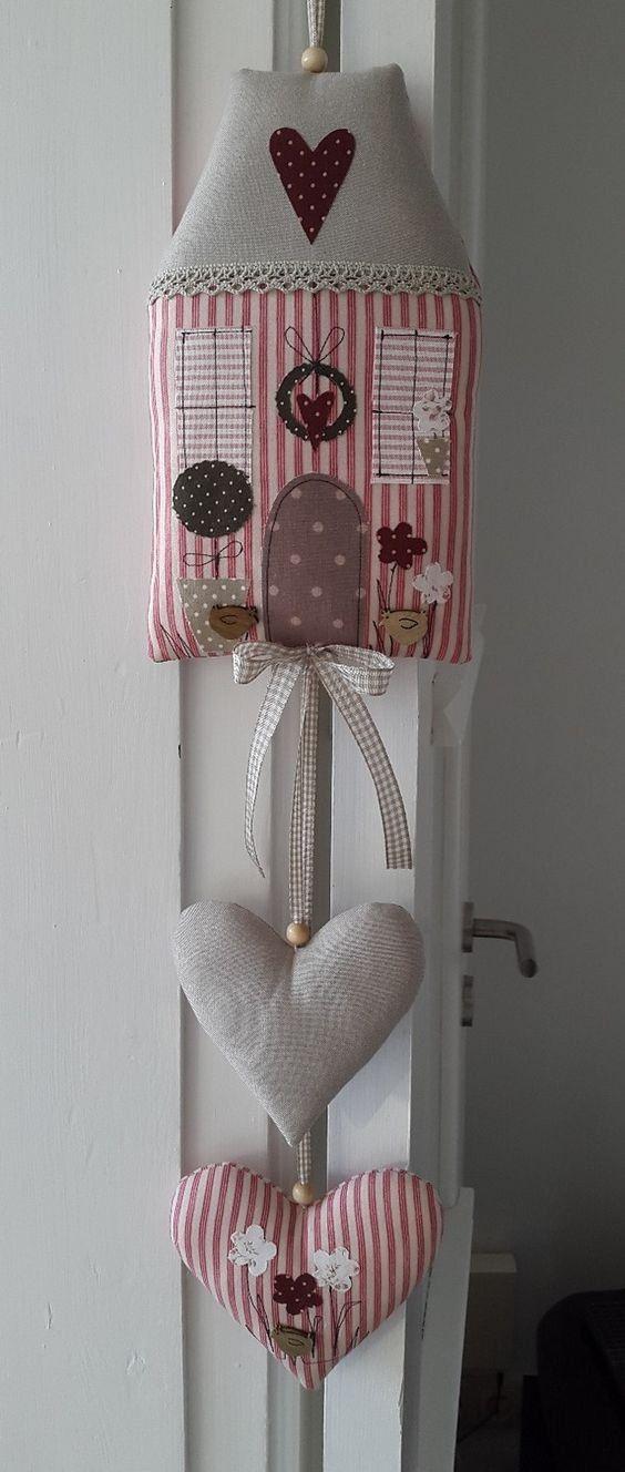 LITTLE FABRIC HOUSE WITH HANGING HEART - Домики из ткани, мягкие игрушки своими руками