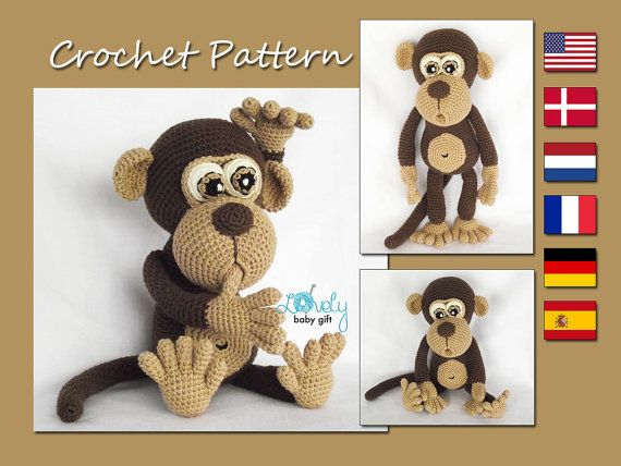 Amigurumi Pattern Monkey Animal Crochet Pattern CP-147