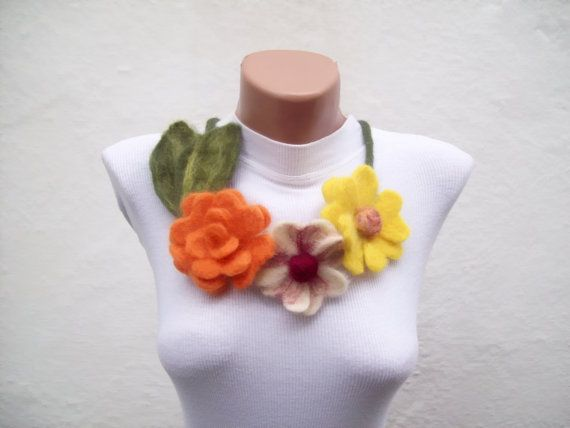 Felted Flower Necklace Yellow Orange Fall Fashion Holiday by nurlu: Felted Flowers, Flowers Necklaces, Fall Fashion, 28Felt Flowers, Flower Necklace, Fabrics Flowers
