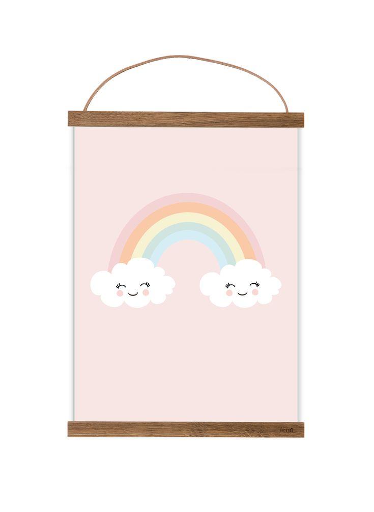 Mooie A4 Poster regenboog  #kinderkamer #poster #regenboog #rainbow #aankleding #babykamer #benikhip
