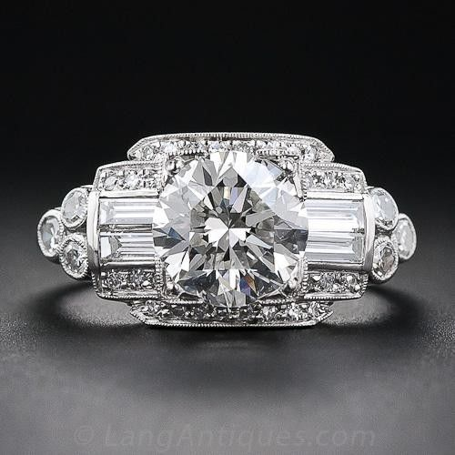 1.93 Carat Art Deco Diamond Ring - Vintage Diamond Engagement Rings - Vintage…