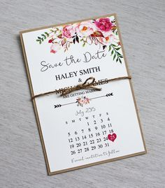 Rustic Floral Save the Date, Boho Chic Wedding Save the Date. Bohemian Save the date, Rustic Floral, Watercolour, Pink Roses, Pink Floral