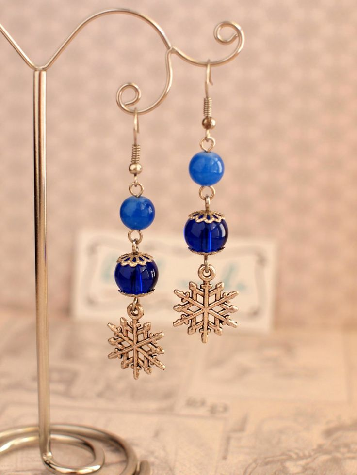 Snowflakes earrings Blue beads earrings Glass beads earrings Winter earrings Xmas jewelry Winter holiday gift Winter earrings by AnyankasHandiworks on Etsy