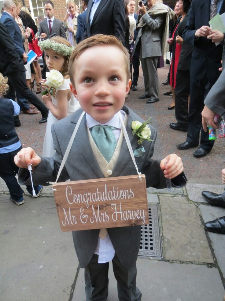 Congratulations sign on our handsome mini usher in tails #pageboy #Londonwedding #weddingsign