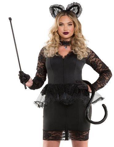 this kitty wants all your attention this three piece ms meow lace kitty costume black cat