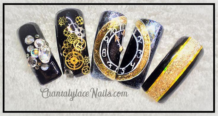 new years nails, steam punk, clock nail art