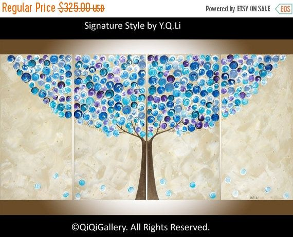 Art Painting Abstract Landscape Canvas art Tree by QiQiGallery