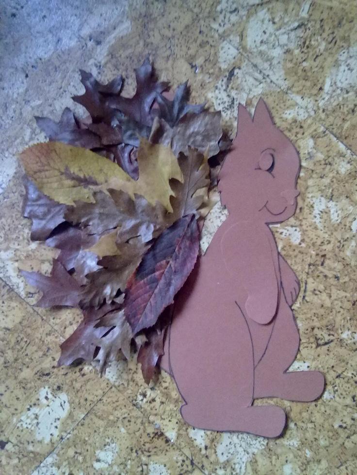 Eekhoorn, staart beplakt met bladeren, geschikt voor kleuters in groep 1/2