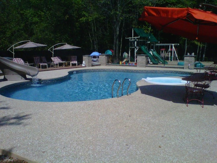 Pictures Of Sundecks Stairs And Benches: .24'x 42' Lagoon With Attached Spillover Spa And Custom