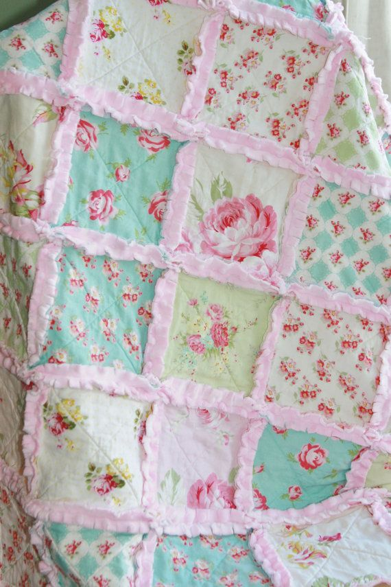 Shabby Chic Rag Quilt Baby Girl Rag Quilt Pink Blue by justluved