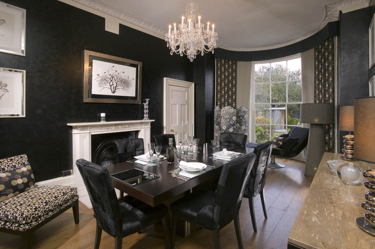 Black Dining Room at Dalton House by Oliver Burns