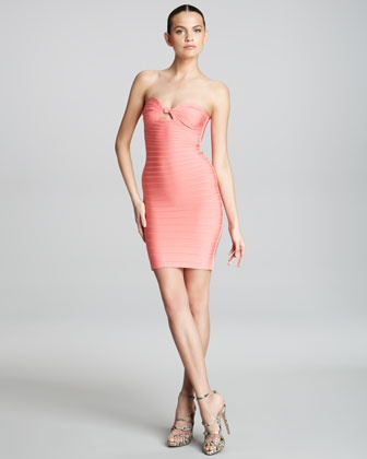 Bandeau Bandage Dress, Coral by Herve Leger at Bergdorf Goodman.
