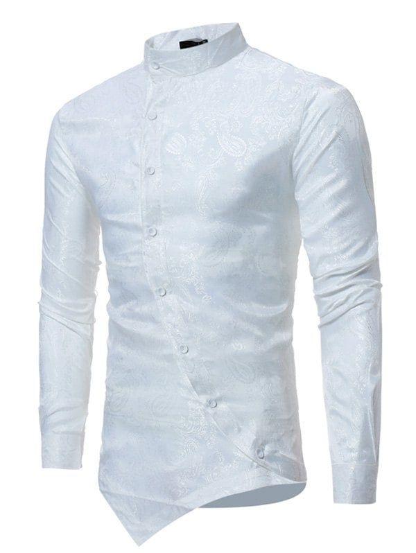 19cff2c3 Mandarin Collar Asymmetrical Hem Paisley Shirt - WHITE M. Mandarin Collar  Asymmetrical Hem Paisley Shirt - WHITE L Long Sleeve Shirt Dress, Silk Shirt