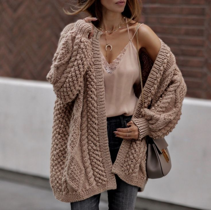 21+ Fall Outfits To Copy This Season: Beige chunky cardigan, nude lace cami, ha…