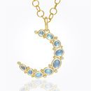 Item 18K Large Crescent Moon Pendant with Royal Blue Moonstone and diamond