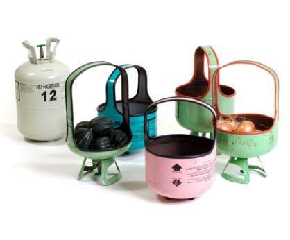 baskets made from old propane tanks
