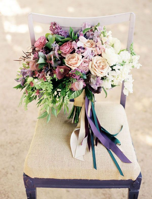 Purple and Ivory Bridal Bouquet | Ryan Johnson Photography | Cottage Garden Wedding Inspiration