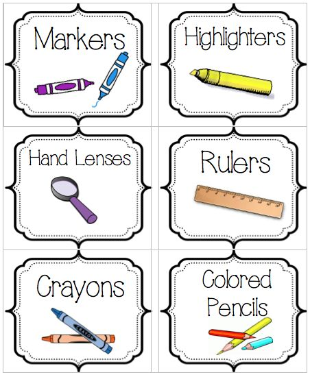 Classroom Supplies Labels (Free) 1 of 3