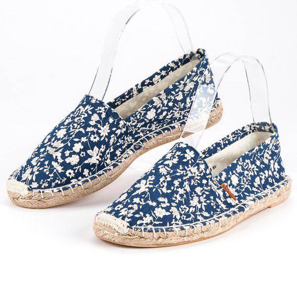 Mckey Niebieskie Espadryle W Kwiaty Espadrilles Flat Espadrille Shoes