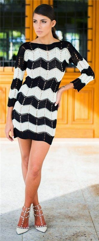 Black & white crochet dress!