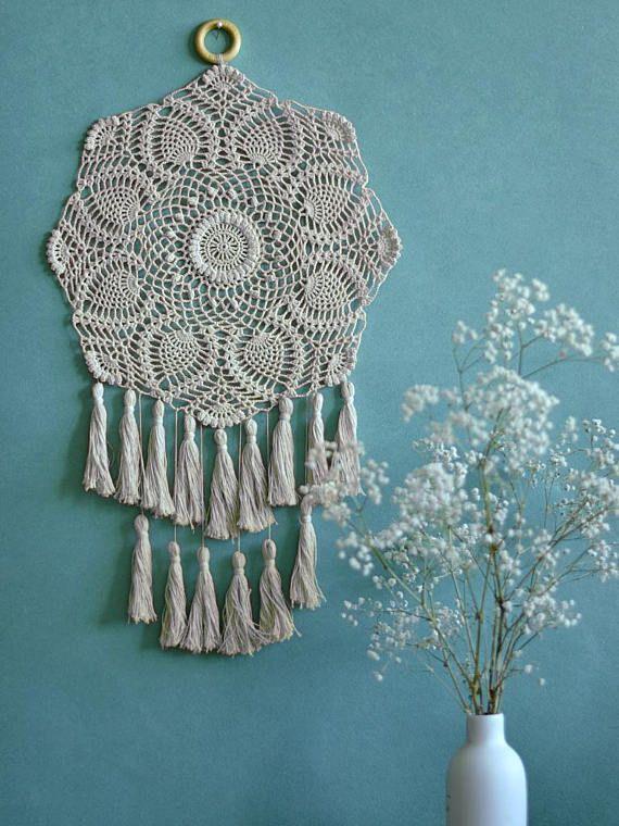 Dream catcher Crochet doily dream catcher Tassels wall decor