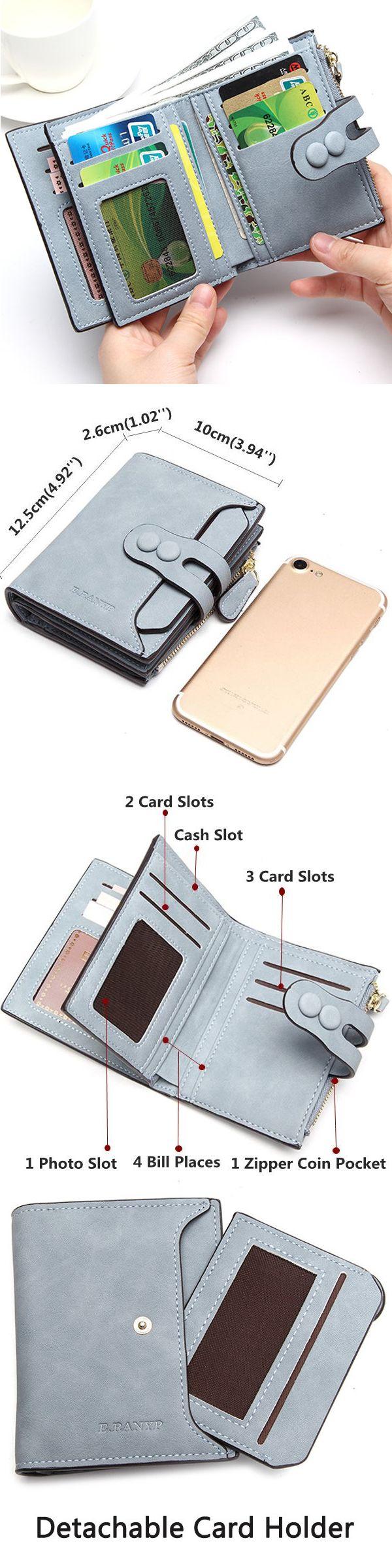 US$11.47 Women PU Short Wallet Newest Top Sale Zipper Hasp Purse Wallet Coin Bag