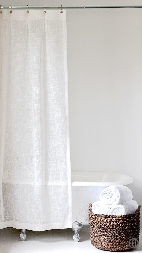 Extra Long Shower Curtain In White Or Cream
