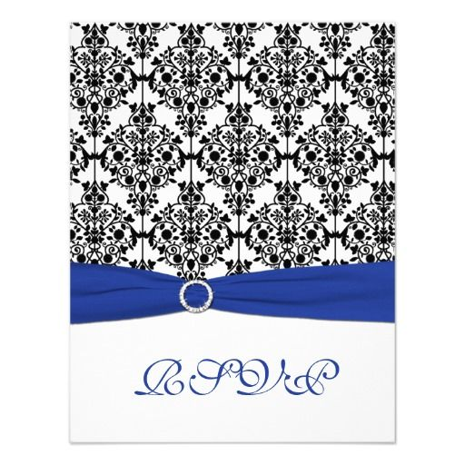 Royal Blue, White, Black Damask Reply Card