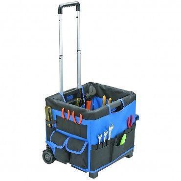 Heavy Duty Folding Wheeled Tool Cart Tote Bag w/ Wheels Electrician Mechanic Pro
