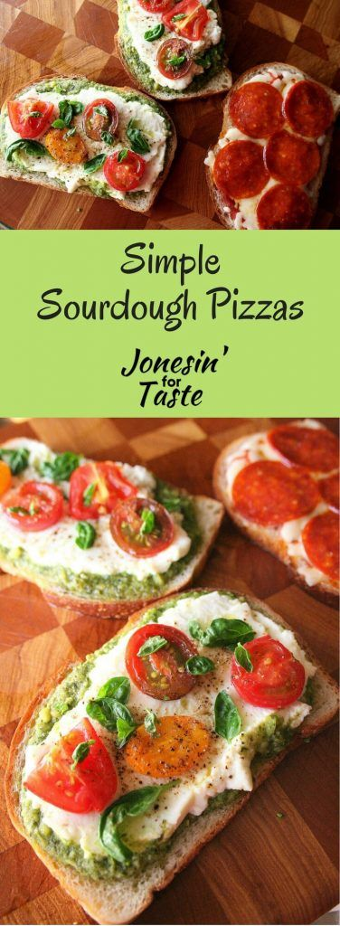 This Simple Sourdough Pizza recipe tops sourdough bread with your favorite pizza toppings. It cooks quickly and is the perfect solution for a busy weeknight pizza craving.