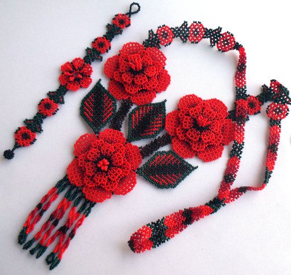 Mexican Huichol Beaded Flower Necklace and Bracelet set by Aramara