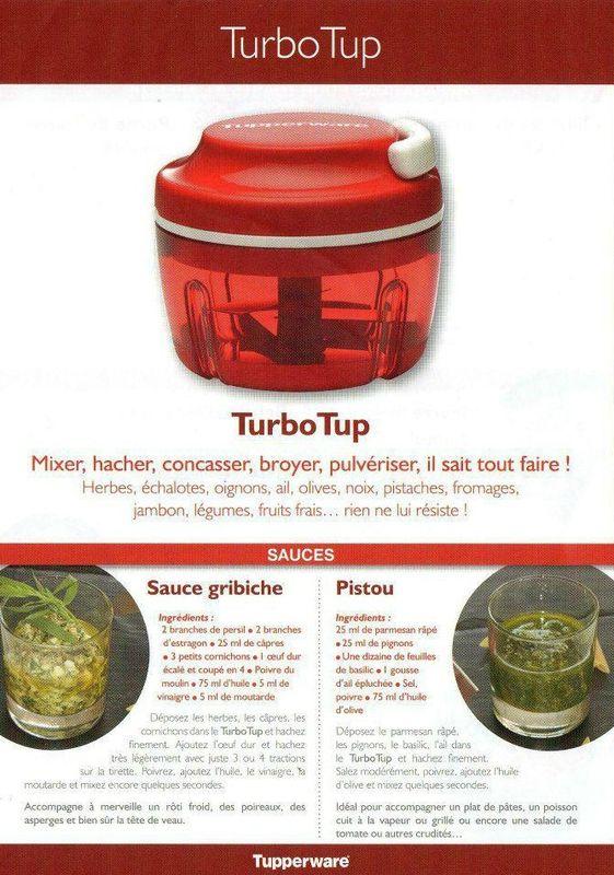 Fiche recette Turbo Tup 1/2 - Tupperware : sauce gribiche, Pistou