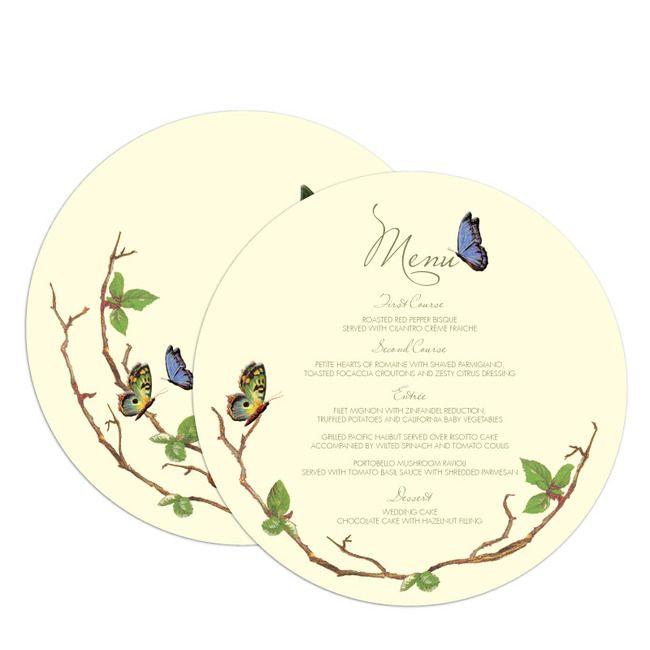 fluttering forever by claire pettibone for wedding paper divas menu card