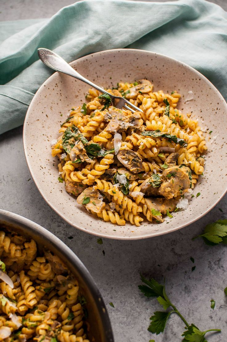 Pumpkin, Mushroom, and Spinach Pasta