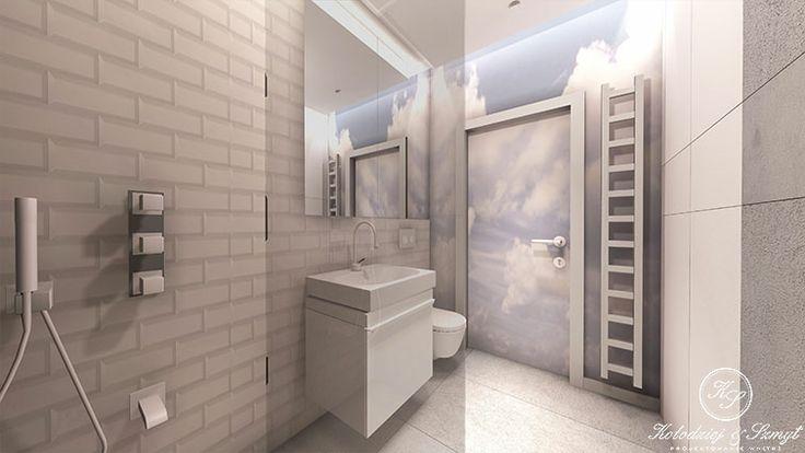 Modern bathroom with clouds wallpaper by Kolodziej & Szmyt