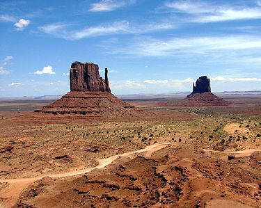 The Monument Valley Navajo Tribal Park in northeast Navajo County, Arizona