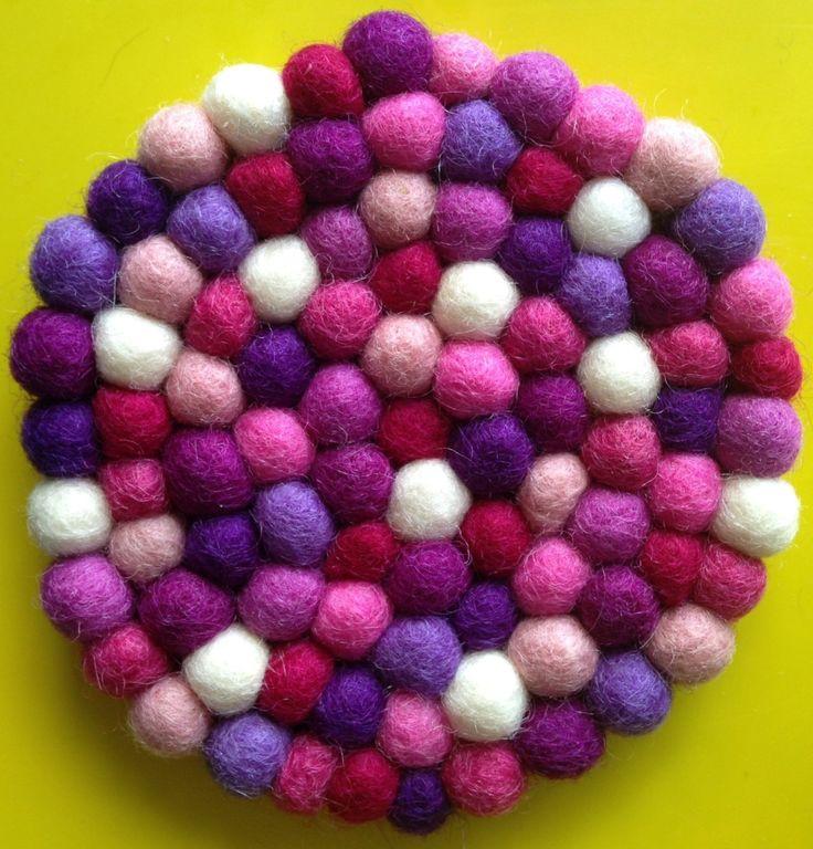 DIY Felt Ball Mutli purple Freckle Coaster kit - diy craft kit - kids craft kit - felt ball coaster kit - make your own craft by CrazyLikeFoxShop on Etsy