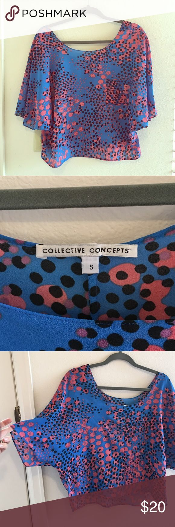 Collective Concepts blue batwing top Beautiful blue top from Collective Concepts. Excellent condition. Like new. Pink purple and black spots. Collective Concepts Tops Blouses