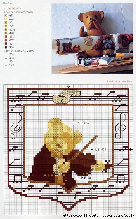 Cross-stitch Musical Bear