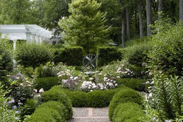 """Seventeenth-century English botanist John Parkinson wrote that boxwood hedging """"is of excellent use to border up a knot, and a marvellous fine ornament there unto.""""  Boxwood (Buxus sp.) is still the chosen favorite in formal gardens today; whether hard clipped or allowed to grow more loosely, it's stunning."""