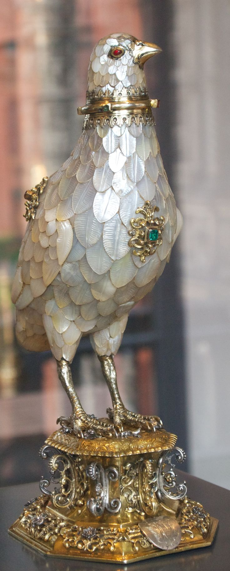 1660 ~ Partridge Cup made in Germany by Jorg Ruel .... Silver-gilt, Gold, Gems & Mother of Pearl ....