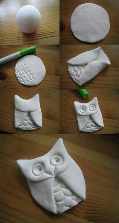 DIY Clay Owl:  All you need is a ball of clay rolled out and just a marker to use to make the texture from the cap