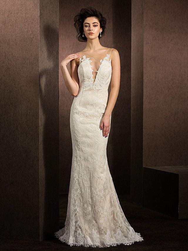 Lanting Bride® Mořská panna Drobná / Nadměrné velikosti Svatební šaty Dlouhá vlečka Klenot Krajka s - EUR €146.99