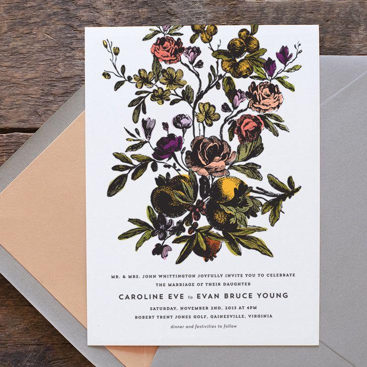 Floral Wedding Invitation, Flower Wedding Invitation, Vintage Botanical Wedding Invitation, Letterpress Wedding, Victorian Flower Invitation by HelloTenfold on Etsy https://www.etsy.com/listing/173558660/floral-wedding-invitation-flower-wedding