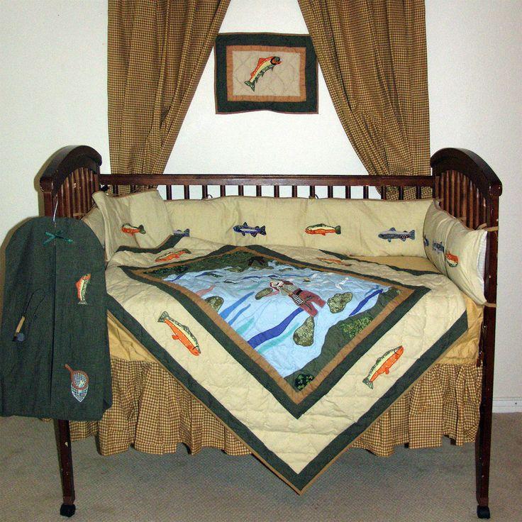 Country fish 6 piece crib bedding set baby nursery decor baby