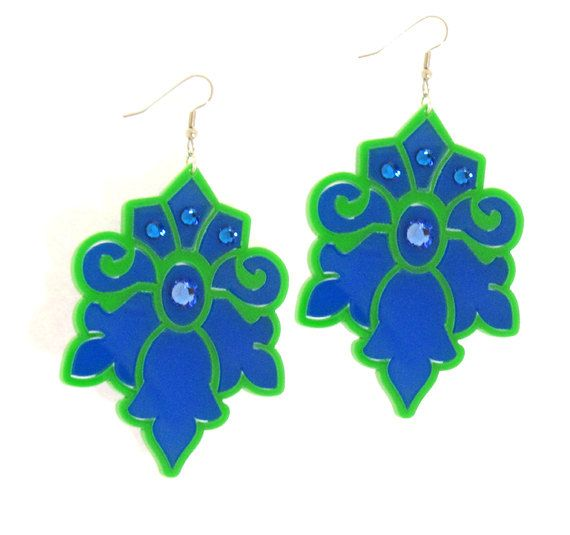 Blue and Green Lotus Earrings - Bridesmaid Jewelry - Romantic Jewelry - Cocktail Jewelry - Party Jewelry - Evening Jewelry - Gift For Her  These unique & romantic floral design earrings are made from a combination of blue and green acrylic parts and swarovski crystals, they hang on NICKEL FREE gold plated over brass earwires.  These earrings make a bold statement, yet are surprisingly lightweight and easy to wear.  $65