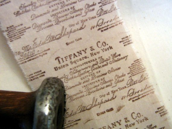 TIFFANY and COMPANY tea dyed hand stamped fabric by ThePeonyShanty, $5.85
