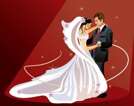 векторная свадьба, танец, платье, невеста, жених, фата, рисунок, освещение, формат EPS, костюм, галстук