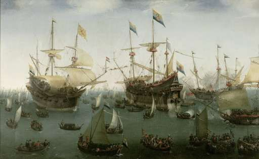 The Return to Amsterdam of the Second Expedition to the East Indies, Hendrik Cornelisz. Vroom, 1599 - Rijksmuseum